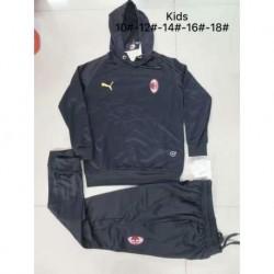 AC Milan Black Kid Hooded Tracksui