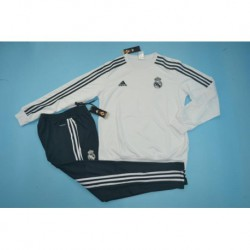 Madrid white round neck and gray pant training suit size:18-1